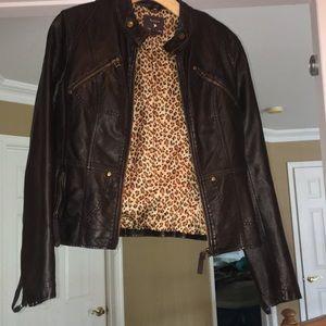 Black leather jacket cheetah inside